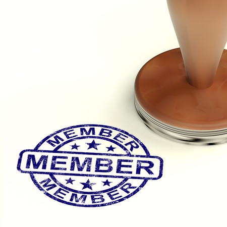 Timbre membre Affiche d'inscription des membres et s'inscrire Banque d'images