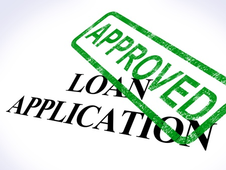 loans: Loan Application Approved Showing Credit Agreement Stock Photo