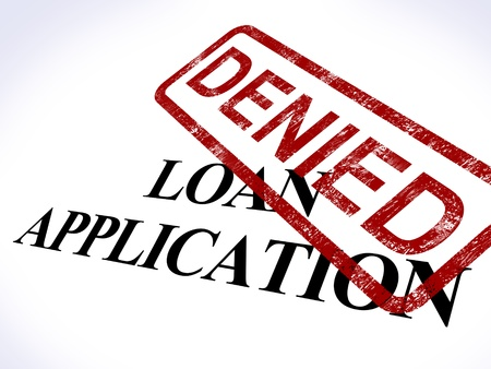 loans: Loan Application Denied Stamp Showing Credit Rejected