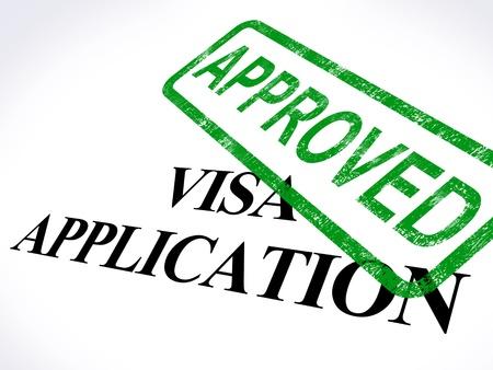 pasaporte: Solicitud de Visa Aprobado sello que muestra admisi�n de entrada autorizado Foto de archivo