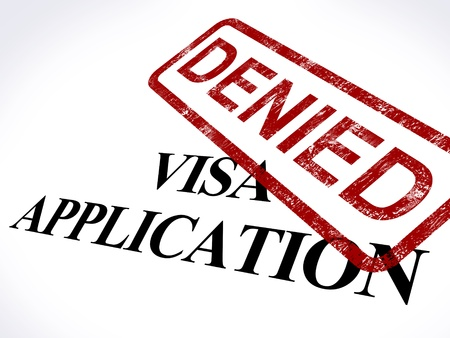 immigrate: Visa Application Denied Stamp Showing Entry Admission Refused Stock Photo