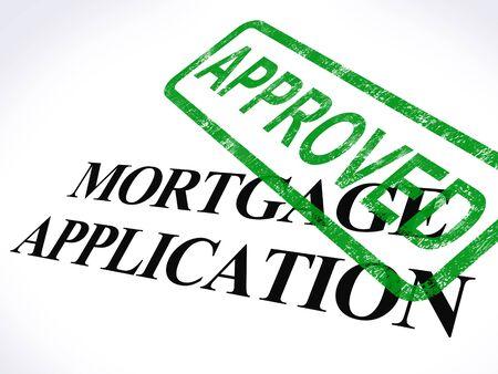 Hypotheek voor toepassing goedgekeurd stempel met Home Loan Overeengekomen Stockfoto