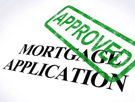 loans: Mortgage Application Approved Stamp Showing Home Loan Agreed