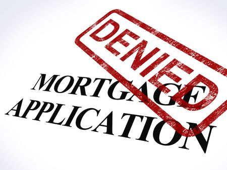 denied: Mortgage Application Denied Stamp Showing Home Finance Refused Stock Photo