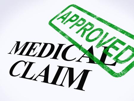 醫療保健: 醫療索賠批准的郵票顯示成功的醫療報銷 版權商用圖片