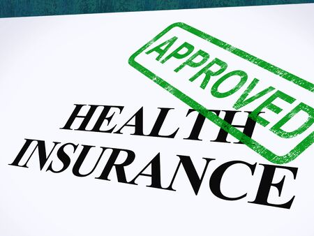 insurance policy: Health Insurance Approved Form Showing Successful Medical Application Stock Photo