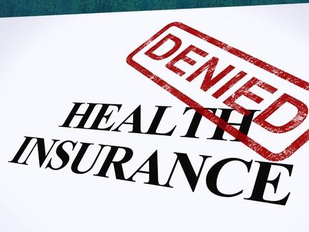 Health Insurance Denied Vorm tonen Mislukte Medische Toepassing Stockfoto