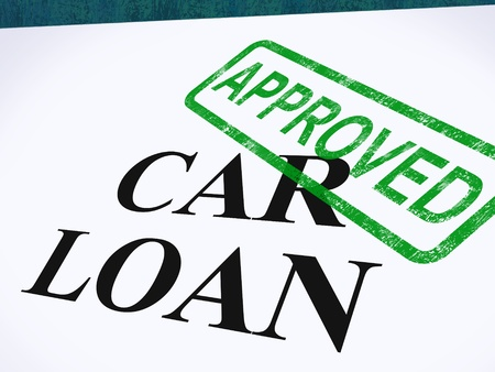 loans: Car Loan Approved Stamp Showing Auto Finance Agreed Stock Photo