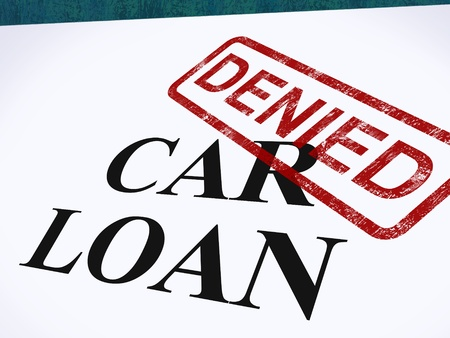 denied: Car Loan Denied Stamp Showing Auto Finance Denied