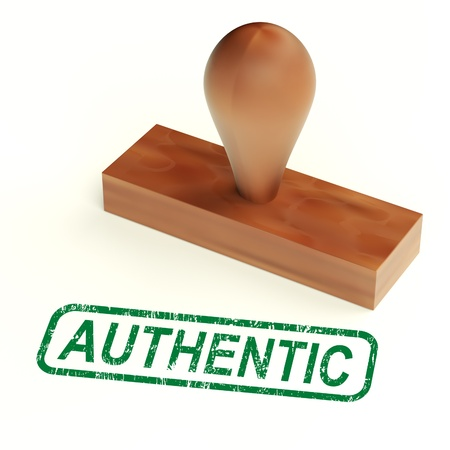 authenticity: Authentic Rubber Stamp Showing Real Genuine Products