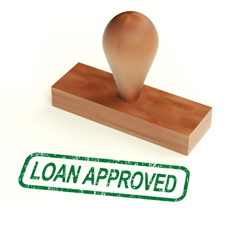 Loan Approved Rubber Stamp Showing Credit Borrowing Ok photo