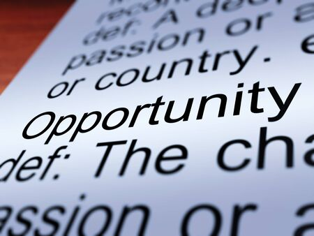 possibility: Opportunity Definition Closeup Shows Chance Possibility Or Career Position Stock Photo