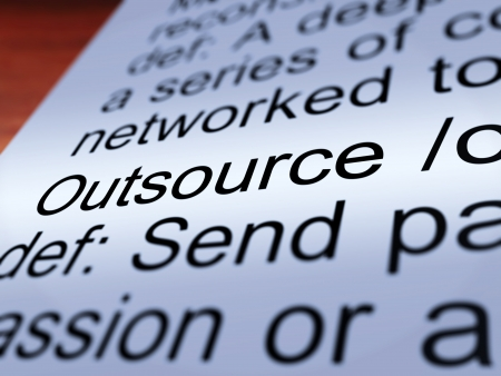 offshoring: Outsource Definition Closeup Shows Subcontracting Suppliers And Freelance