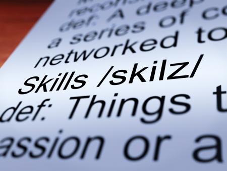 aptitude: Skills Definition Closeup Shows Aptitude Ability And Competence