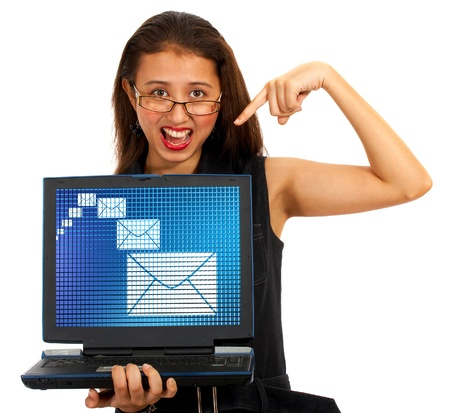 contacting: Email Envelopes On Screen Show Emailing Or Contacting