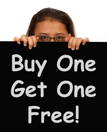 2 1 2: Buy One Get 1 Free Sign Shows Discounts Or Reductions Stock Photo