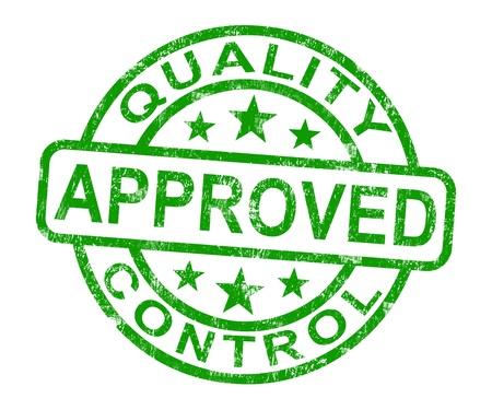 Sello de calidad aprobado de control muestra los productos excelentes