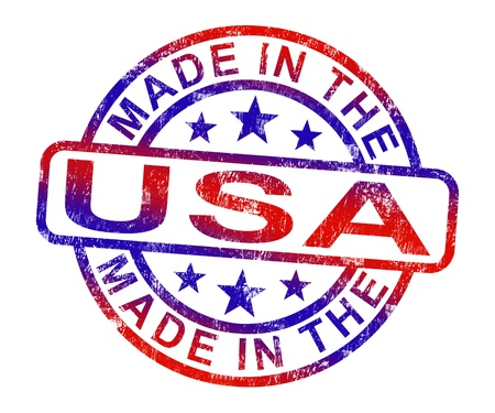 Made In USA Stamp Showing  American Products Or Produce Stock Photo