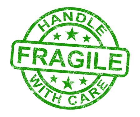 Fragile Handle With Care Stamp Showing Breakable Products photo