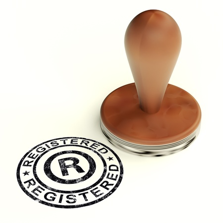 copyright: Registered Stamp Shows Copyright Or Trademark Stock Photo