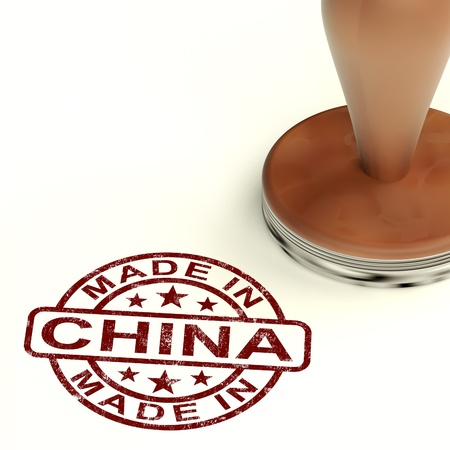 Made In China Stamp Shows Chinese Product Or Produce Stock Photo - 14060982