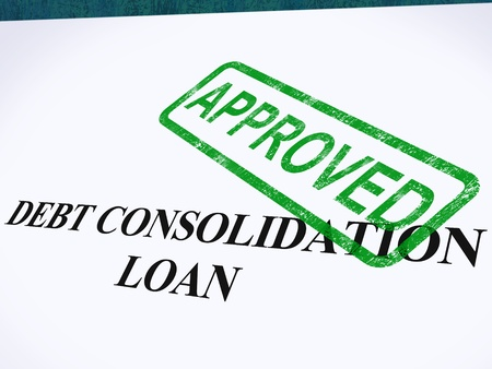 Debt Consolidation Loan Approved Stamp Showing Consolidated Loans Agreed Stock Photo - 14054988