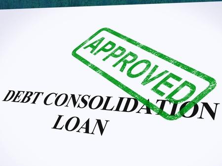 akkoord: Schuld Consolidatie lening goedgekeurd stempel waarin de geconsolideerde leningen Overeengekomen