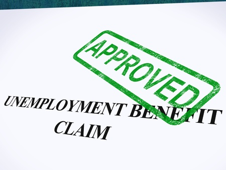 Unemployment Benefit Claim Approved Stamp Showing Social Security Welfare Agreed Stock Photo - 14054993