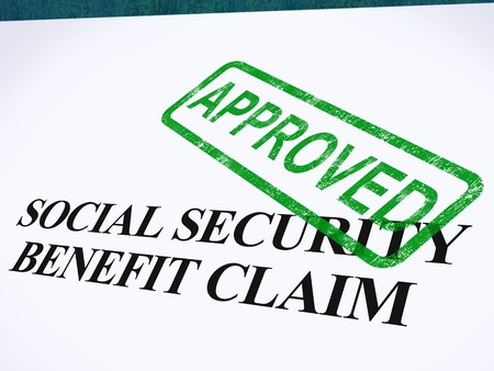 Social Security Claim Approved Stamp Showing Social Unemployment Benefit Agreed Stock Photo - 14055027