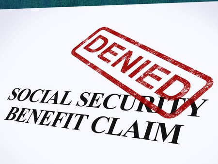social security: Social Security Claim Denied Stamp Showing Social Unemployment Benefit Refused Stock Photo