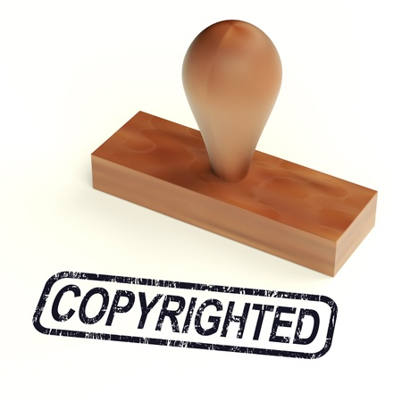 copyrighted: Copyrighted Rubber Stamp Shows Patent Stock Photo