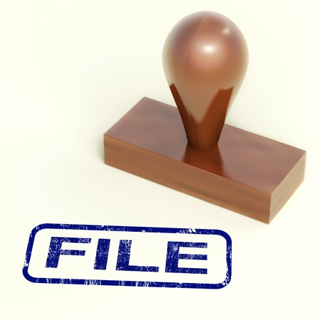 organising: File Rubber Stamp Showing Organising Documents And Papers Stock Photo