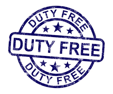 duty: Duty Free Stamp Showing No Tax Shopping Stock Photo
