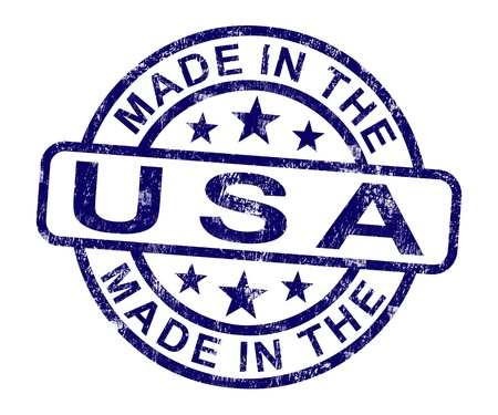 patriotic america: Made In USA Stamp Showing American Product Or Produce Stock Photo