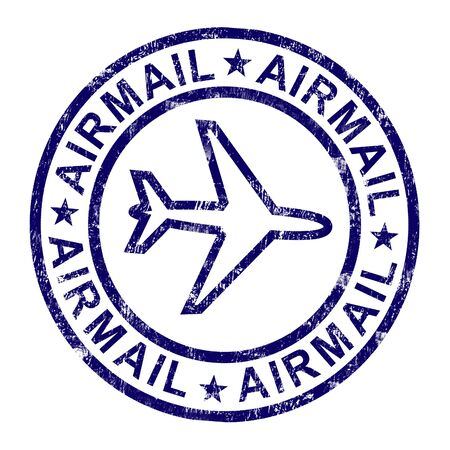 correspond: Airmail Stamp Shows International Mail Deliveries Stock Photo