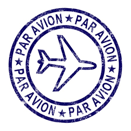 correspond: Par Avion Stamp Showing Correspondence Overseas By Plane Stock Photo