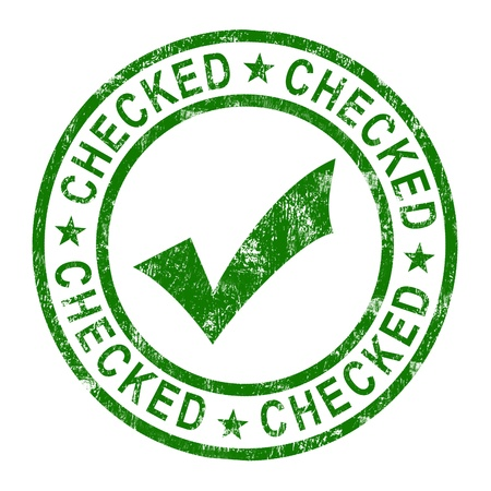 assured: Checked Stamp With Tick Showing Quality And Excellence Stock Photo