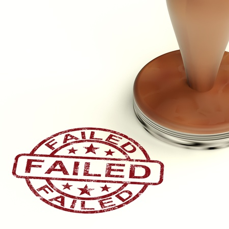 malfunction: Failed Stamp Showing Reject Or Failure Stock Photo