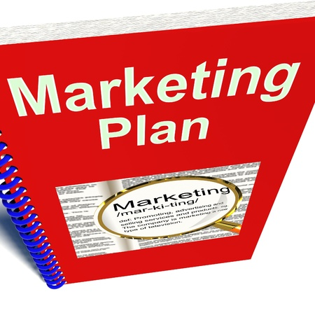 marketing plan: Marketing Plan Book Shows Promotion Strategy Report Stock Photo