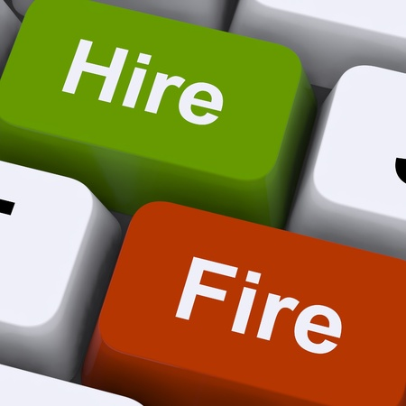 hire: Hire Fire Keys Showing Human Resources Or Recruitment