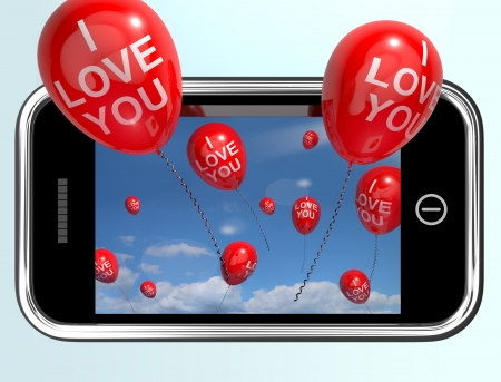 internet love: I Love You Red Balloons From A Mobile Smartphone Stock Photo
