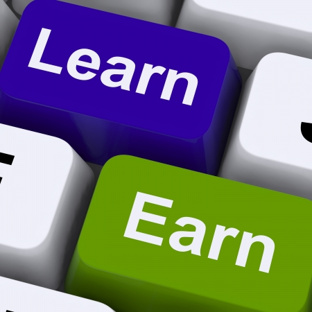 Learn And Earn Computer Keys Shows Working Or Studying photo