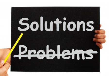 Solutions Not Problems Pointing To Notice On Board Stock Photo - 14562463