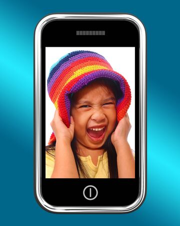 Happy Laughing Young Girl Photo On Smartphone photo
