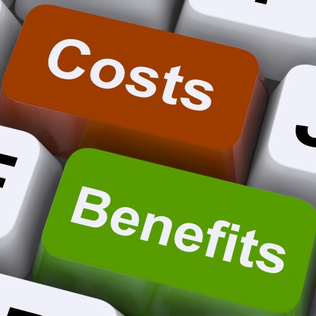 costs: Costs Benefits Keys Show Analysis And Value Of An Investment