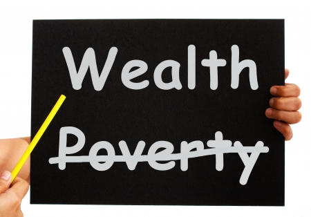 Wealth Board Showing Money And Prosperity Not Poverty Stock Photo - 14562462