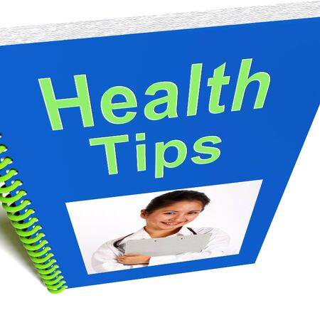 Health Tips Book Showing Wellbeing Or Healthy photo