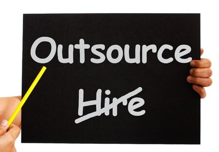 offshoring: Outsource Note Showing Subcontracting Suppliers And Freelance Stock Photo