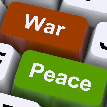 pacifism: Peace War Keys Showing No Conflict Or Aggression