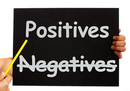 negatives: Negatives Positives Board Showing Analysis Or Plusses